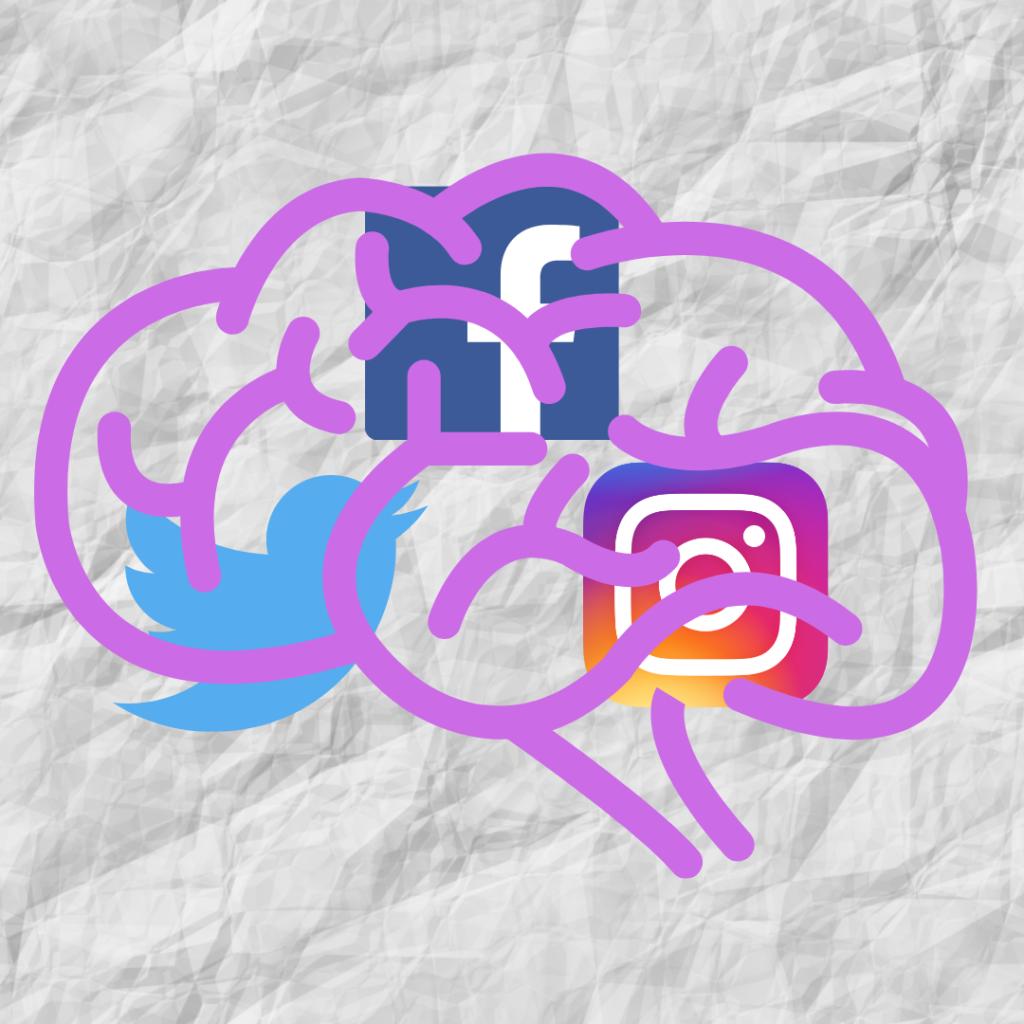 brain with social media logos
